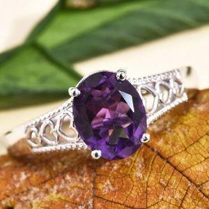 Amethyst Ring in Platinum Bond Brass